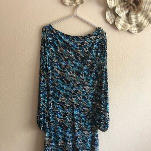 Multicolor side gathered dress with split sleeves